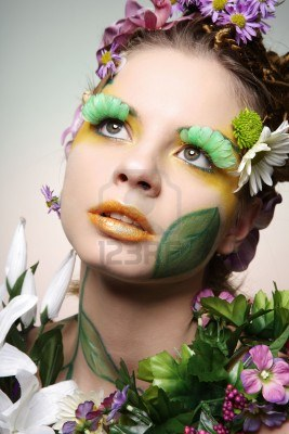 floral make up with petal eye lashes