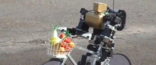 This robot just wants to make you a banana smoothie.  So Sweet! photo via http://en.rocketnews24.com/2012/10/29/cute-bipedal-robot-rides-a-bike-all-by-itself/