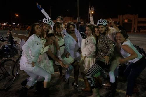 Lily and friends rocking bridal white for a Bachelorette party on wheels! Photo by @violator79