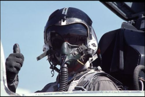 fighter-pilot helmet on
