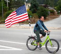 bike with flag