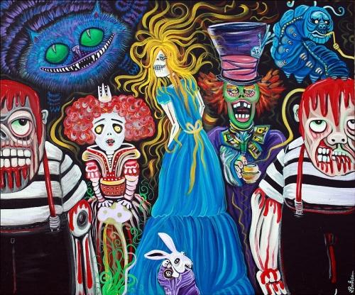 alice-in-zombieland-by-laura-barbosa-original-painting-folk-art-dark-fantasy