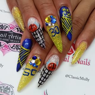 Warriors nail game on point! Nails by @classicmully check them out on Instagram!