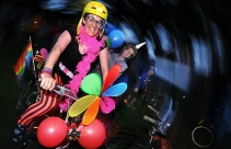 VANCOUVER, BC.:JUNE 15, 2012-Bike Rave, a combination ride /dance party, in action starting at Crab Park in Vancouver, B.C., on Friday night June 15, 2012. It is a celebration of bikes, music, costumes and dance. This is Jessica Cowen all fixed up. (Steve Bosch/PNG)